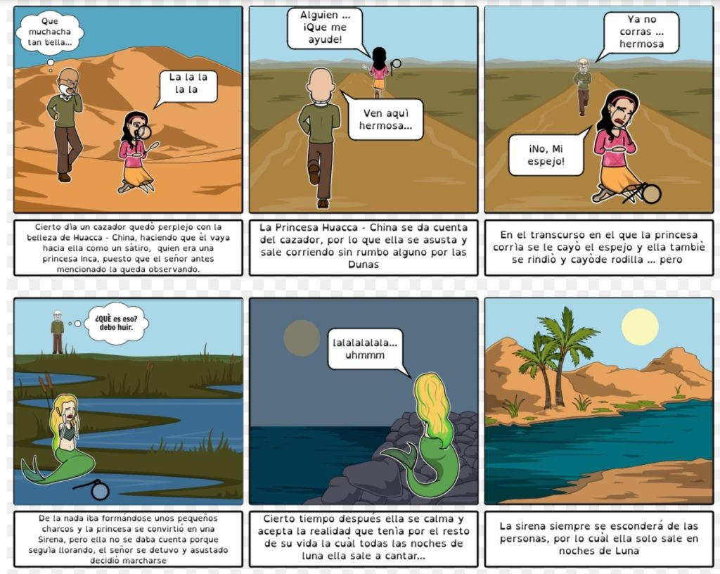 Historieta de la legend of huacachina version comic.