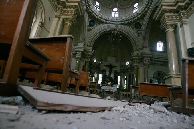 Interior de la Iglesia del Señor de Luren de Ica - Terremoto de Pisco 15 de Agosto 2007
